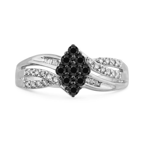 10KT White Gold Baguette and Round Diamond Black And White Fashion Ring (1/2 cttw)