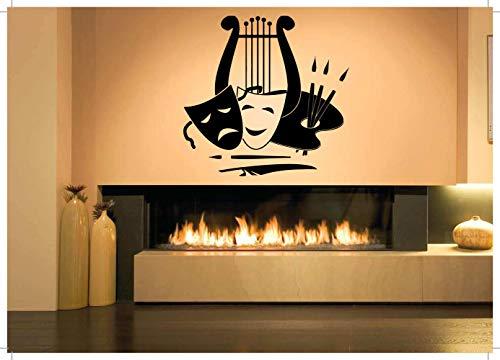 Vinyl Sticker Art Lyra Palette Masks Symbols Of Music Arts Comedy Drama Tragedy Theater Mural Decal Wall Art Decor SA2638