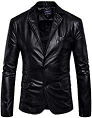 Fensajomon Men Moto Biker Pu Leather 2 Button Fall Winter Casual Classic Dress Blazer Jacket Suit Coat