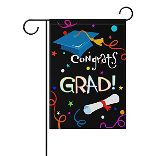 ALAZA Double Sided Colorful Congrats Grad Graduation Cap and Diploma Polyester Garden Flag Banner 12 x 18 Inch for Outdoor Home Garden Flower Pot Decor -