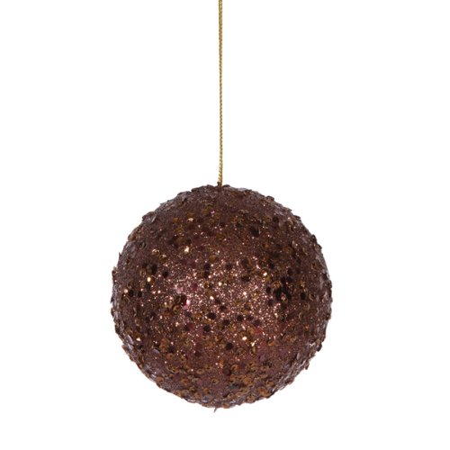 Vickerman Fancy Chocolate Brown Holographic Glitter Drenched Christmas Ball Ornament, 4