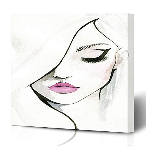 Ahawoso Canvas Prints Wall Art Printing 8x8 Pink Eyeliner Watercolor Pretty Woman Lips Beauty Make People Watercolour Face Girl Eye Ink Artist Painting Artwork Home Living Room Office Bedroom Dorm (Actresses With Dark Hair And Green Eyes)