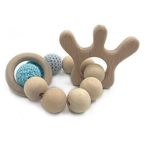 Amyster Crochet Bead Teething Ring Set Untreated Beech Teether with Organic Wood Crown Toy Wood Bracelet Baby Mom Kids Wooden Teether Bangle (Crown)
