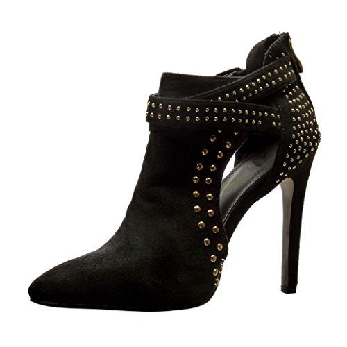 Angkorly Women's Fashion Shoes Ankle Boots - Booty - Stiletto - Sexy - Open - Studded - Buckle - Metallic Stiletto High Heel 11.5 cm Black Y4UNANM