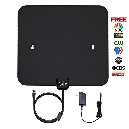 TV Antenna, Vikeri Digital Amplified HDTV Antenna indoor with AC/DC Power Adapter and High Performance Coax Cable - 50 Mile (Scout Black Watch)
