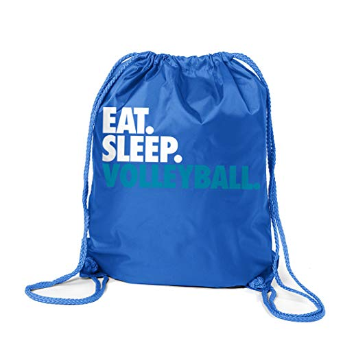 ChalkTalkSPORTS Volleyball Sport Pack Cinch Sack | Eat Sleep Volleyball | Royal