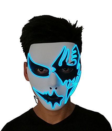 2017 Halloween Horror Light Up Clown Mask - Scary Mask Halloween Cosplay Led Costume El Wire Mask (Blue Light) -