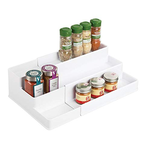(mDesign Plastic Adjustable, Expandable Kitchen Cabinet, Pantry, Shelf Organizer/Spice Rack with 3 Tiered Levels of Storage for Spice Bottles, Jars, Seasonings, Baking Supplies - White)