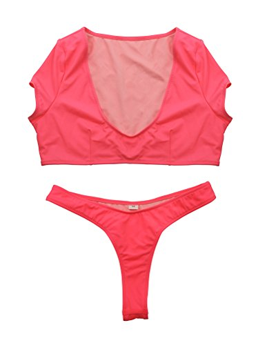 Women High Neck Sleeveless Tank Bikini Top Triangle T-Back Bottoms Two Piece Pink Summer Vacation - Add Website Square My To