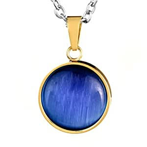 ELYA Gold IP Stainless Steel Blue Tiger's Eye Pendant Necklace
