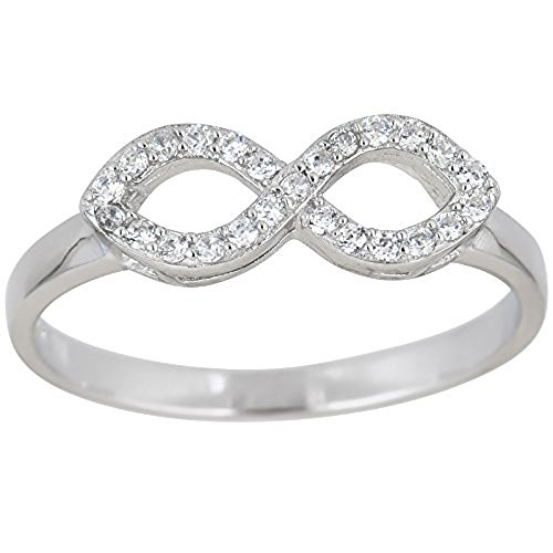 (Sterling Silver Pave Infinity Cubic Zirconia Ring)