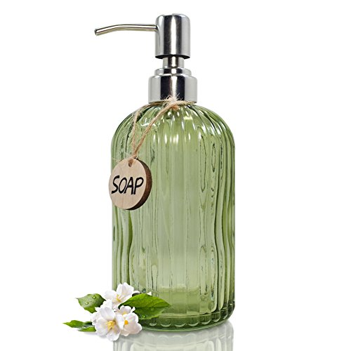 JASAI 18 oz Glass Soap & Lotion Dispenser Rust Proof Stainless Steel Pump, Refillable Liquid Pump Bottle Holder For Kitchen, Bath, Premium Bathroom Soap Dispenser As Bathroom Accessories (Clear Green) by JASAI