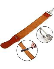 Leather Strop, Genuine Leather Strop Strap Barber Straight Razor Folding Knife Shave Sharpener Sharpening Belt for Barber Male Shaving Tool