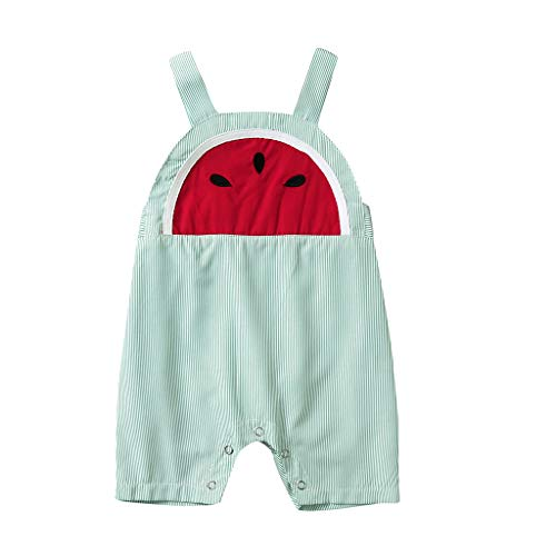 (Hot 2019 Summer Infant Cute Straps Tops Toddlers Baby Kids Strawberry Printed Pants Clothes Set (Green, 12-18 Months))
