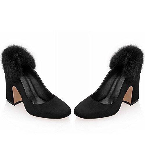 AllhqFashion Damen Quadratisch Zehe Ziehen auf Nubukleder Rein Hoher Absatz Pumps Schuhe Schwarz