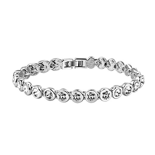 Yalong Rhodium Plated Woman Tennis Bracelet Made With Swarovski Crystals, 7.5 Inch, White