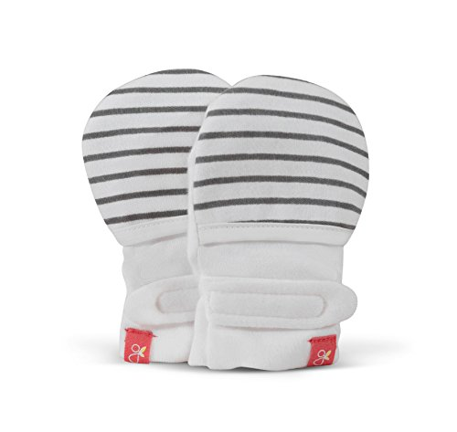 goumimitts, Scratch Free Baby Mittens, Organic Soft Stay On Unisex Mittens, Stops Scratches and Prevents Germs (0-3 Months, Hello Baby Brown - Stripe (Gray))