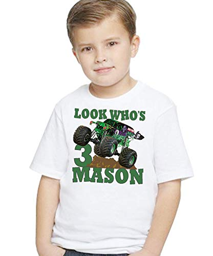 Birthday T Shirt Monster Truck Green Mud Digger Riding Tee Custom Personalized With NAME and AGE