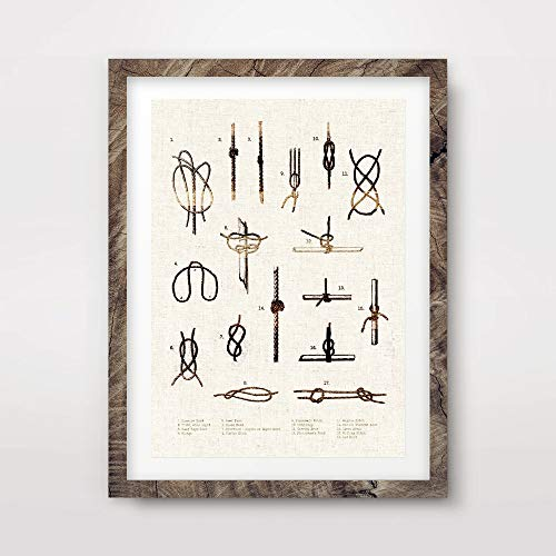 Nautical Shadow Box - MARITIME SEASIDE NAUTICAL VINTAGE KNOTS ROPE CHART DIAGRAM ILLUSTRATION DRAWING ART PRINT Poster Home Decor Interior Design Wall Picture A4 A3 A2 (10 Size Options)