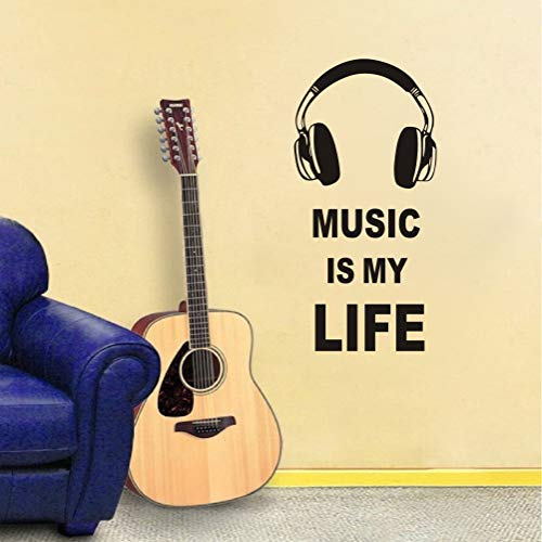 TOARTi Headset and Music is My Life Quote Phrases Wall Sticker,Vinyl Inspirational Wall Decal Removable Stylish Art Mural Unique Design for Room Decor(Black)