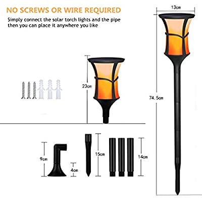 Solar Torch Lights Outdoor, 2-pack SOCO Waterproof Flickering Flames Torches Lights Solar Spotlights Landscape Decoration Lighting, Dusk to Dawn Auto On/Off Security Torch Light for Patio Driveway