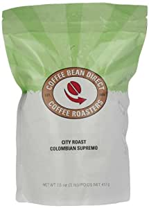 Coffee Bean Direct City Roast Colombian Supremo, Whole Bean Coffee, 16-Ounce Bags (Pack of 3)