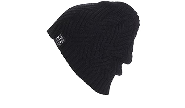 KUYOU Mens Winter Interwoven Stripes Knitted Hat Knitting Ski Skull Cap