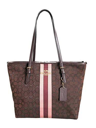 Coach Signature Zip Tote Shoulder Handbag (IM/Brown Multi) from Coach