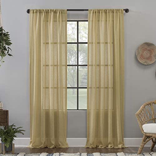 Clean Window Crushed Texture Allergy Pet Friendly Anti-Dust Sheer Curtain Panel, 52 x 96 , Flax Yellow