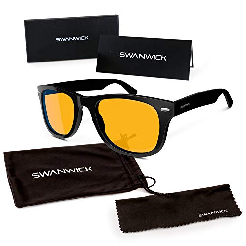 Swannies Premium Blue Light Blocking Glasses for Better Sleep and Eye Strain Relief for Computer Games, Reading or TV Screens - (Henley Black) Regular