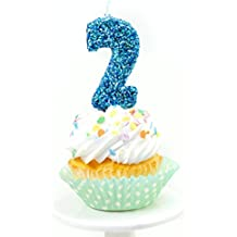"Number Two (2) 3"" Coastal Sparkle Glitter Birthday or Anniversary Cake and Cupcake Candle (Two Birthday Candle)"