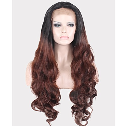 BERON Long Wavy Dart Roots Ombre Brown Lace Front Wigs Natural Ombre Wavy Wigs Come with Wig Cap