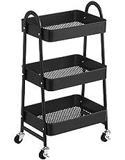 SONGMICS Trolley met 3 niveaus, metalen serveerwagen, keukentrolley, keukenplank met handgrepen, 2 remmen, eenvoudig te monteren, voor schildergerei, slaapkamer, wasruimte, zwart BSC068B01