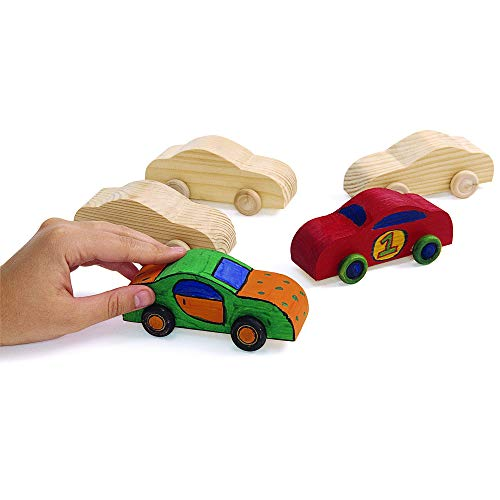 Colorations WOODCAR Real Rolling Wooden Cars (Pack of - Toy Wooden Car Unfinished
