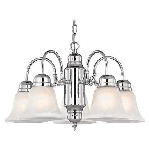 Glass Alabaster Chrome (Mini-Chandelier with Alabaster Glass in Chrome Finish)
