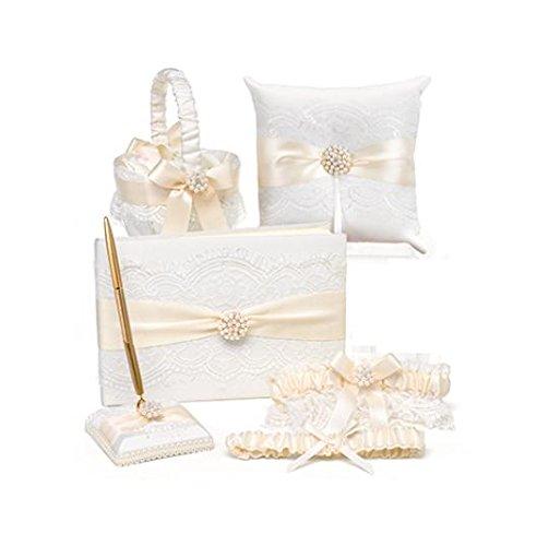 Elegance Garter Set (Hortense B Hewitt 5-Piece Splendid Elegance Collection for Wedding,)