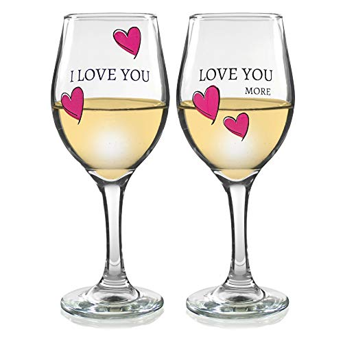 - Love You More Wine Glass - Set of 2 Glasses with Pink Decorative Hearts - His and Her Romantic Glassware