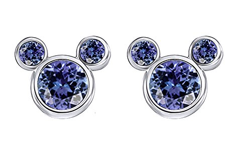 June Birthstone Alexandrite Mickey Mouse Stud Earrings In 14k White Gold Over Sterling Silver