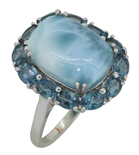 (YoTreasure 1 Cts. Larimar London Blue Topaz Solid Sterling Silver Cluster Ring)