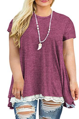 Women's Plus Size Tunics Short Sleeve Lace Swing Tunic Shirt Tops Wine Red 20W -
