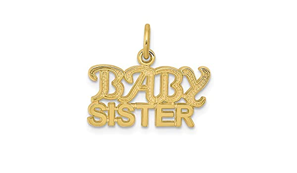 10k Yellow Gold Baby Sister Pendant Letters Charm Fashion