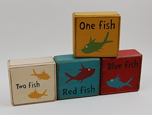 One Fish-Two Fish-Red Fish-Blue Fish - Primitive Country Wood Stacking Sign Blocks Dr. Suess Chuncky Blocks-Kids Nursery Room-Birthday-Baby Shower Decor
