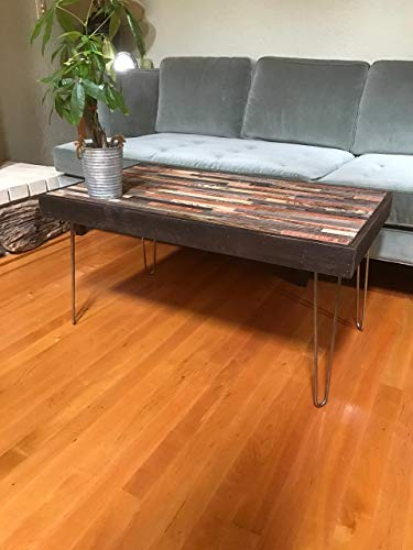 ON SALE -47″x20″ Barn wood Coffee Table – Industrial Furniture – Modern Reclaimed Barn Wood Rustic Wood and Vintage Steel Hairpin Legs