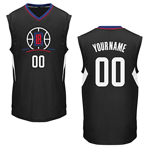 Men's Los Angeles Clippers Black Custom Replica Basketball Jersey Your Name/Number Size M