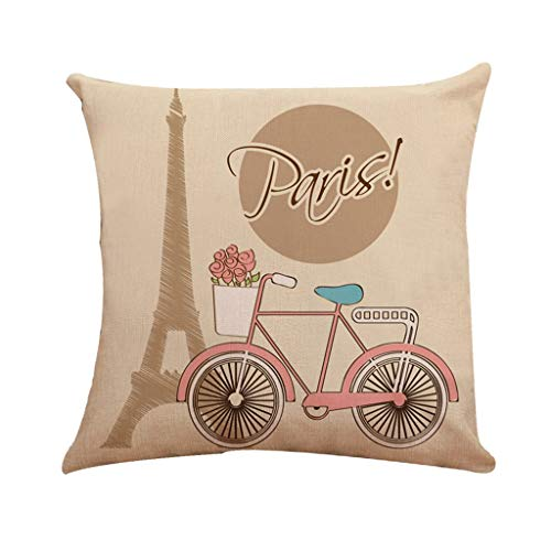 Littay Bicycle Pattern Series Family Car Sofa Upholstery Linen Pillowcase -