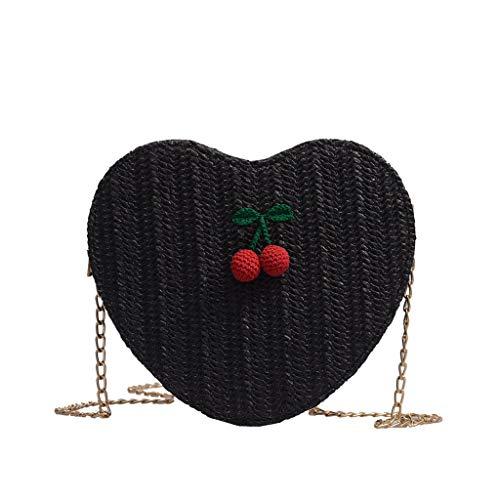 Women's Woven Bag, Fashion Cherry Accessories Solid Color Messenger Bag Love Crossbody Casual Wild Handbag❤️Sumeimiya