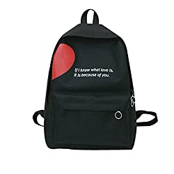 Outsta Couple Canvas Letter Backpack,fashion Boyfriends Girlfriends Outdoor Travel Backpack Student Bag Messenger Bag Waterproof Casual Multicolor (Black)