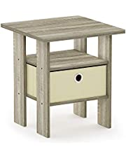 FURINNO 11157GYW/BK End Table Bedroom Night Stand W/Bin Drawer