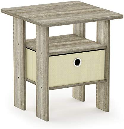 FURINNO Andrey End Table Nightstand with Bin Drawer, 1-Pack, Sonoma Oak Ivory