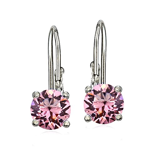 Bria Lou 925 Sterling Silver 6mm Round October Birthstone Color Leverback Drop Earrings Made with Swarovski Crystals by Bria Lou
